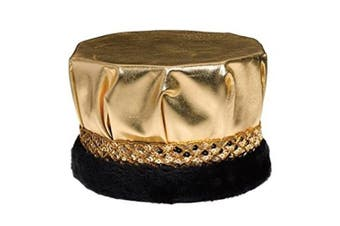 (Gold) - Gold Royal Metallic Crown with Gold Sequin Band and Black Faux Fur Trim, 17cm high