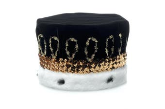 (Black) - Black Royal Velvet Crown with White Spotted Faux Fur and Gold Trim, 17cm high