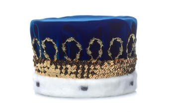 (Blue) - Blue Royal Velvet Crown with White Spotted Faux Fur and Gold Trim, 17cm high