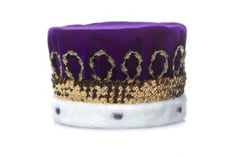 (Purple) - Purple Royal Velvet Crown with White Spotted Faux Fur and Gold Trim, 17cm high