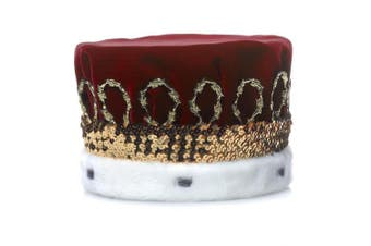 (Burgundy) - Burgundy Royal Velvet Crown with White Spotted Faux Fur and Gold Trim, 17cm high