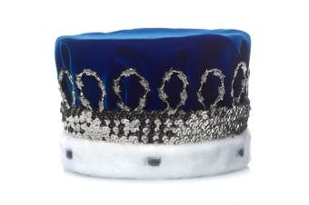 (Blue Royal) - Blue Royal Velvet Crown with White Spotted Faux Fur and Silver Trim, 17cm high