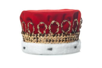 (Red) - Red Royal Velvet Crown with White Spotted Faux Fur and Gold Trim, 17cm high