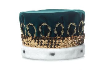 (Green) - Green Royal Velvet Crown with White Spotted Faux Fur and Gold Trim, 17cm high