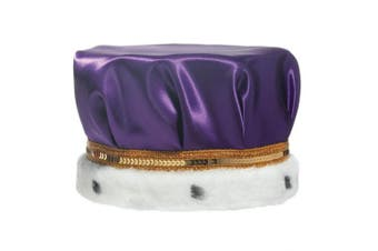 (Purple) - Purple Satin Crown Trimmed with Spotted Faux Fur and a Gold Sequin Band, 17cm high