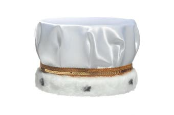 (White) - White Satin Crown Trimmed with Spotted Faux Fur and a Gold Sequin Band, 17cm high