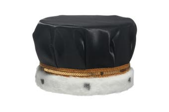 (Black) - Black Satin Crown Trimmed with Spotted Faux Fur and a Gold Sequin Band, 17cm high