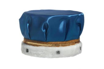 (Royal Blue) - Royal Blue Satin Crown Trimmed with Spotted Faux Fur and a Gold Sequin Band, 17cm high