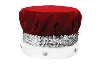 (Silver) - Red Grandeur King Crown with Spotted Faux Fur and Silver Sequin Band, 17cm high