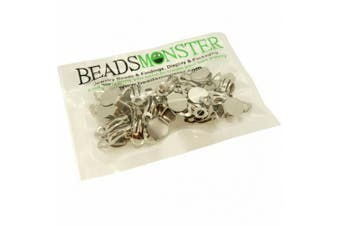 (Silver) - BeadsMonster Flat Round Tray Iron Clip-on Earring Findings for Jewellery Making, 10mm Paddle Back (Silver)