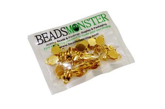 (Gold) - BeadsMonster Flat Round Tray Iron Clip-on Earring Findings for Jewellery Making, 10mm Paddle Back (Gold)