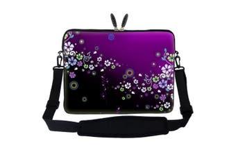 (Purple Mini Flowers) - Meffort Inc 15 40cm Neoprene Laptop Sleeve Bag Carrying Case with Hidden Handle and Adjustable Shoulder Strap - Purple Mini Flowers