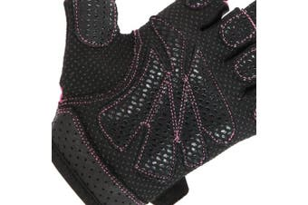 (Small, Pink) - Contraband Pink Label 5137 Womens Padded Weight Lifting Gloves w/Grip-Lock Padding (Pair) - Machine Washable Fingerless Workout Gloves Designed Specifically for Women - Contraband Sports