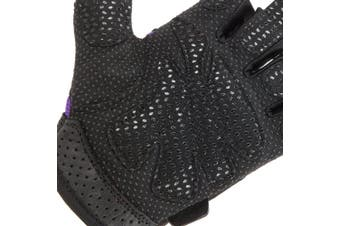 (Large, Purple) - Contraband Pink Label 5137 Womens Padded Weight Lifting Gloves w/Grip-Lock Padding (Pair) - Machine Washable Fingerless Workout Gloves Designed Specifically for Women - Contraband Sports