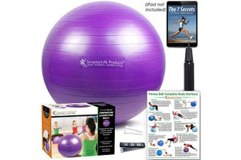 (45 cm, Purple) - Exercise Ball for Yoga, Balance, Stability from SmarterLife - Fitness, Pilates, Birthing, Therapy, Office Ball Chair, Classroom Flexible Seating - Anti Burst, No Slip, Workout Guide