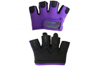 (Large, Purple) - Contraband Pink Label 5537 Womens Micro Weight Lifting Gloves w/Grip-Lock Silicone Padding (Pair) - Minimalist Half Gloves - Apple Watch Friendly
