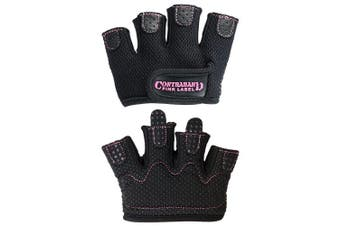(Small, Black) - Contraband Pink Label 5537 Womens Micro Weight Lifting Gloves w/Grip-Lock Silicone Padding (Pair) - Minimalist Half Gloves - Apple Watch Friendly