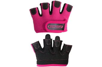 (Medium, Pink) - Contraband Pink Label 5537 Womens Micro Weight Lifting Gloves w/Grip-Lock Silicone Padding (Pair) - Minimalist Half Gloves - Apple Watch Friendly