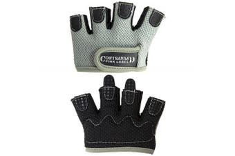 (Medium, Gray) - Contraband Pink Label 5537 Womens Micro Weight Lifting Gloves w/Grip-Lock Silicone Padding (Pair) - Minimalist Half Gloves - Apple Watch Friendly