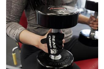 (Black, Large) - BEAR GRIP - Weight Lifting Gloves,