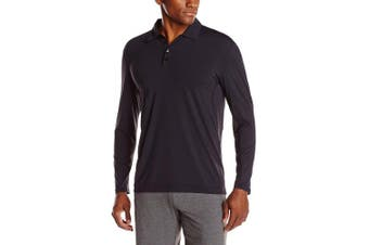 (Small, Black) - BloqUV Men's Collared Long Sleeve Top