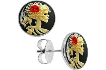 Body Candy Stainless Steel Red Rose Skeleton Stud Earrings