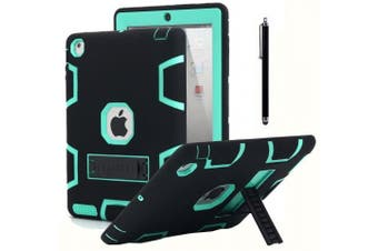 (Black+Mint Blue) - iPad 2 Case,iPad 3 Case,iPad 4 Case, AICase Kickstand Shockproof Heavy Duty Rubber High Impact Resistant Rugged Hybrid Three Layer Armour Protective Case with Stylus for iPad 2/3/4 (Black+Mint Blue)
