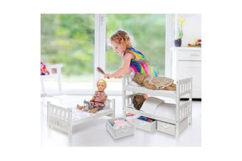 Badger Basket 1-2-3 Convertible Doll Bunk Bed with Storage Baskets, White Rose, Fits Most 46cm Dolls and My Life As