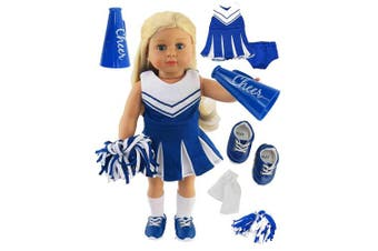 Blue Cheerleader Outfit Cheerleading Uniform with Dress, Bloomers, Poms, Megaphone, Socks, and Shoes | Fits 46cm American Girl Dolls, Madame Alexander, Our Generation, etc. | 46cm Doll Clothes