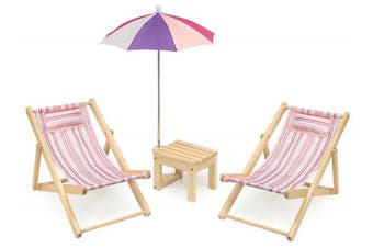 Badger Basket 40020 Two Doll Beach Chair Set with Table & Umbrella (Fits American Girl Dolls) Doll Furniture, Pink/Multi