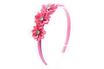 (Hot Pink) - PrettyBoutique Triple Satin Flowers Girls Alice Headband Hair Band (Hot Pink)