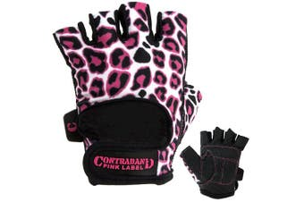 (Small, Pink/White) - Contraband Pink Label 5297 Womens Design Series Leopard Print Lifting Gloves (PAIR)