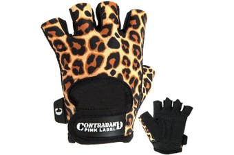 (X-Small, Orange/Black) - Contraband Pink Label 5297 Womens Design Series Leopard Print Lifting Gloves (PAIR)