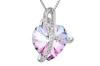 (Pink 1) - Angelady Pink Heart Pendant Necklaces for Women Crystal from , Womens Necklace with Cubic Zircon Diamonds Valentine's Day for Daughter Mum Wife Girlfriend
