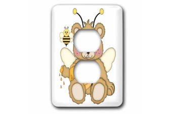 3dRose Cute Honey Bear With Honey And A Honey Bee Illustration, 2 Plug Outlet Cover