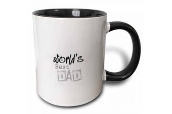 3dRose Worlds Best Dad in Grey Words Fathers Day, Two Tone Black Mug, 330ml