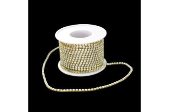 (Golden) - 10Yard 3.0MM Clear Crystal Rhinestone Chain Close Trim Cup Chains Bulk for Craft Jewellery Making (Golden)