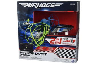 (Blue) - Air Hogs 2-in-1 Hyper Drift Drone for High Speed Racing and Flying - Blue