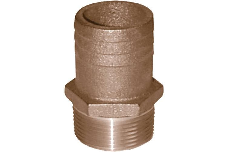 (2.5cm nptx 1-0.3cm barb) - Groco FF Bronze Full Flow Pipe-to-Hose Adapter with NPT Thread