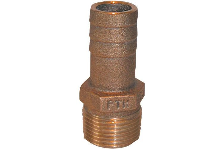 (2.5cm  - 1.3cm ) - Groco PTH Bronze Standard Flow Pipe-to-Hose Adapter with NPT Thread