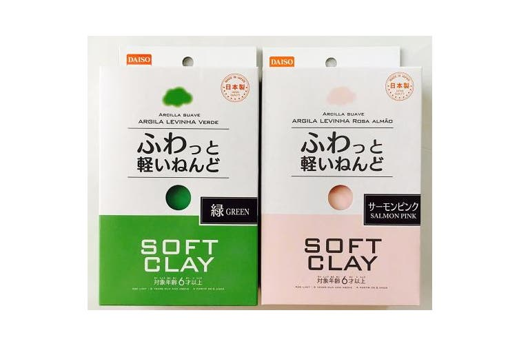 (1, Green and salmon pink) - Soft Clay set (Green and Salmon Pink)