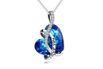 (I LOVE YOU) - Sterling Silver Love Heart Pendant Necklace with Bermuda Blue Crystals , Gift for Women Girls