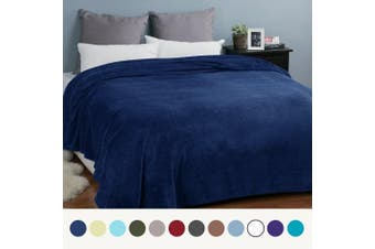 (Queen(230x230 cm), Navy Blue) - Flannel Blankets Bedspread Queen Size Navy Blue - Luxury Large Bed Fleece Blankets Super Soft Fluffy Warm Microfiber Solid Blanket 230x230cm by Bedsure