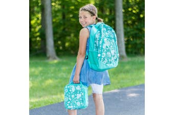 (1, Teal Floral Motif) - Reinforced Water Resistant School Backpack and Insulated Lunch Bag Set - Teal Floral Motif