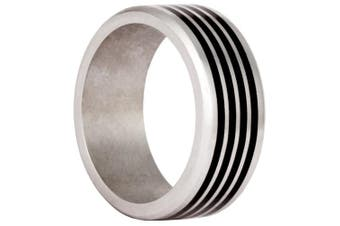 (Q) - Bico Vapour 316L Stainless Steel Black Inlayed Ring (AR29) - The need for speed - Original Steel