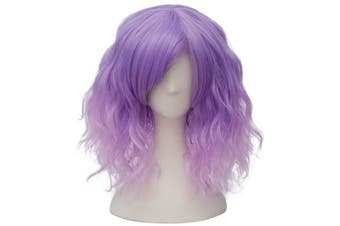 (Purple Pink Ombre Side Parting) - Alacos Fashion 35cm Short Curly Bob Anime Cosplay Wig Daily Party Christmas Halloween Synthetic Heat Resistant Wig for Women +Free Wig Cap (Purple Pink Ombre Side Parting)