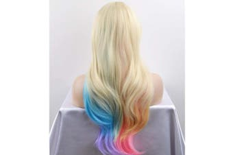 BERON Long Wavy Blonde Mix Pastel Rainbow Colour Wigs for Cosplay or Daily Use (Multicolor)