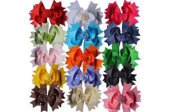 Bzybel 12 Pcs Little Girl's 18cm Boutique Rose Big Hair Bow Clips Grosgrain Ribbon Alligator Clips Headwear or Baby Shower Gift 12 (Mix 12 colours hair bows)