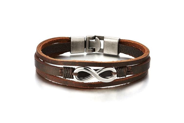 Infinity Love Number 8 Interwoven Brown Genuine Leather Bracelet for Men and Women