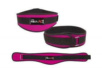(MEDIUM 80cm  - 90cm ) - Met-X Womens Weight Lifting Fitness Gym Belts Back Support Pink Training Belts